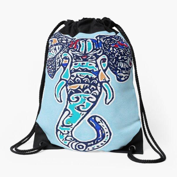 Digital Elephant Illustration Drawstring Bag