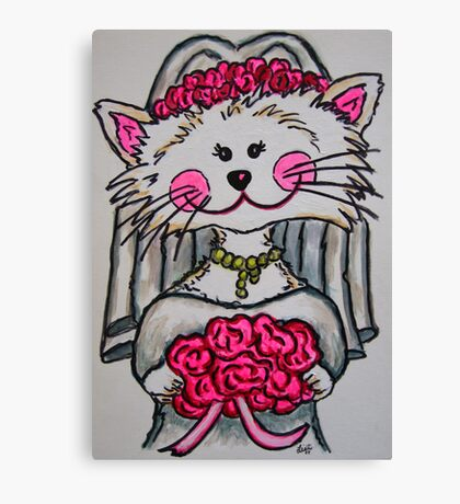 Bride To Be Kitty Canvas Print