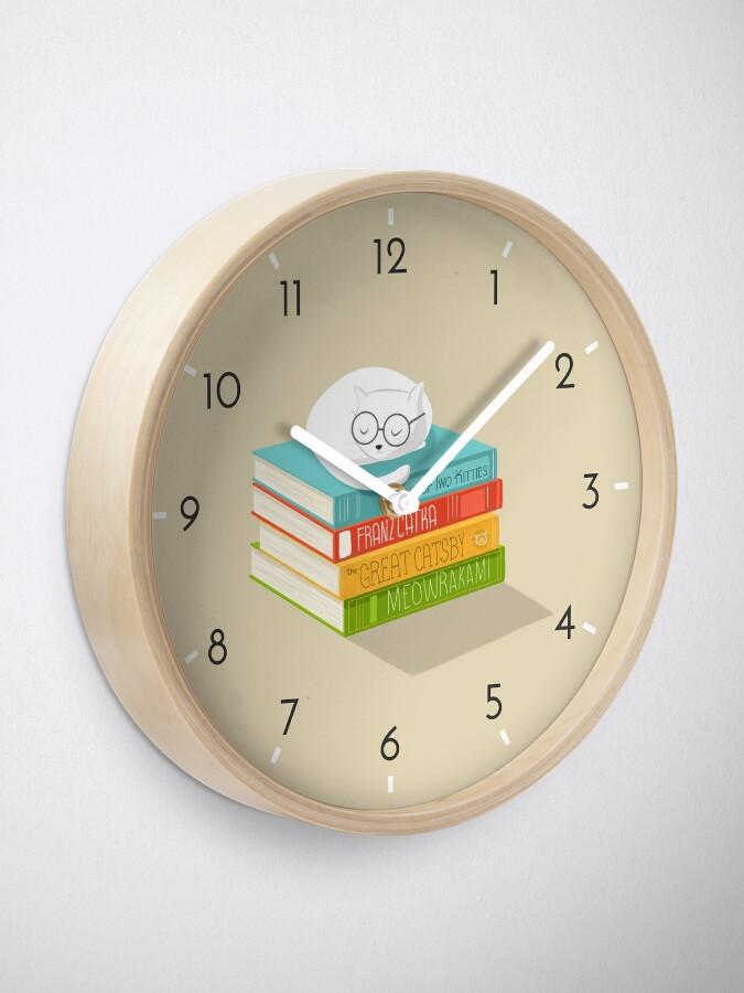 Alternate view of The Cat Loves Books Clock