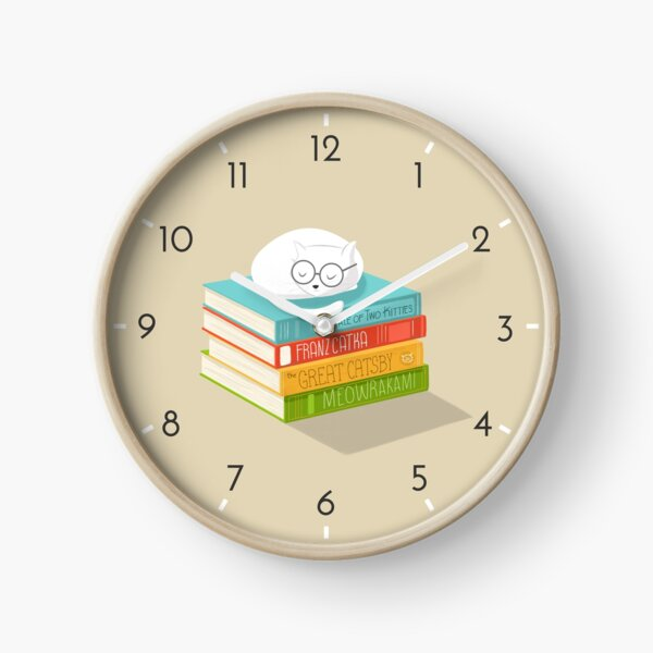 The Cat Loves Books Clock