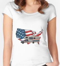 Camp America Toyota Motorhome Flag Women's Fitted Scoop T-Shirt