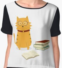 Nerdy Cat Women's Chiffon Top