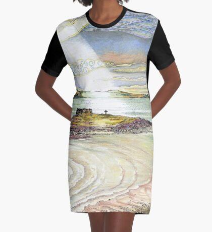 St. Cuthbert's Island, Holy Island Graphic T-Shirt Dress