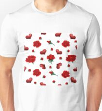 Seamless Pattern with Roses and Hearts for Valentine's Day, Wedding T-Shirt