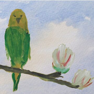 Parakeet on Magnolia Tree by joscoart
