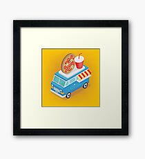 Isometric Food Truck with Pizza and Soda Framed Print