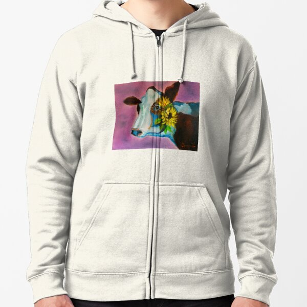 Jersey Cow Zipped Hoodie