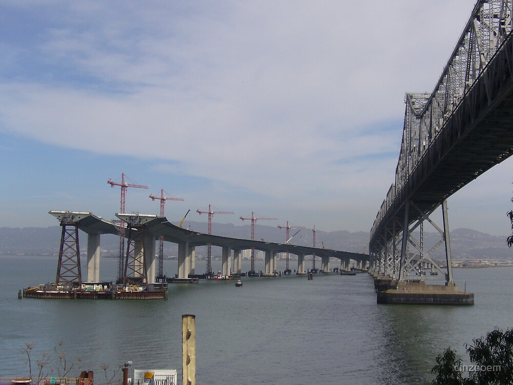 THE NEW UPCOMMING\AND OLD SAN FRAN BAY BRIDGE by cinzpoem