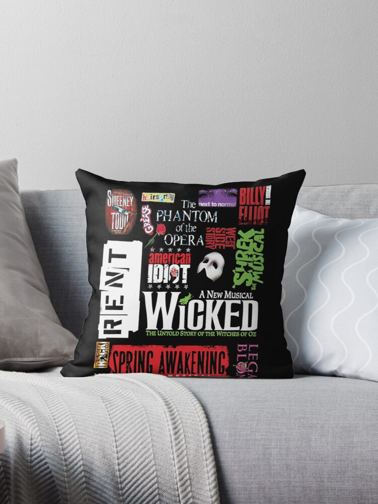 broadway musical collage throw pillows by lucybrenda redbubble