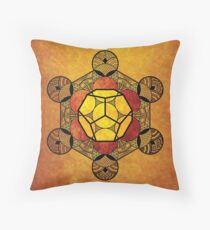 Sacred Geometry - Ether Amber Throw Pillow