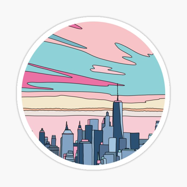 City sunset by Elebea Sticker