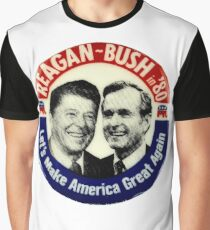 Reagan Bush '84 '80 Retro Logo Red White Blue Election Ronald George 1984 84 1980 80 Pin Graphic T-Shirt
