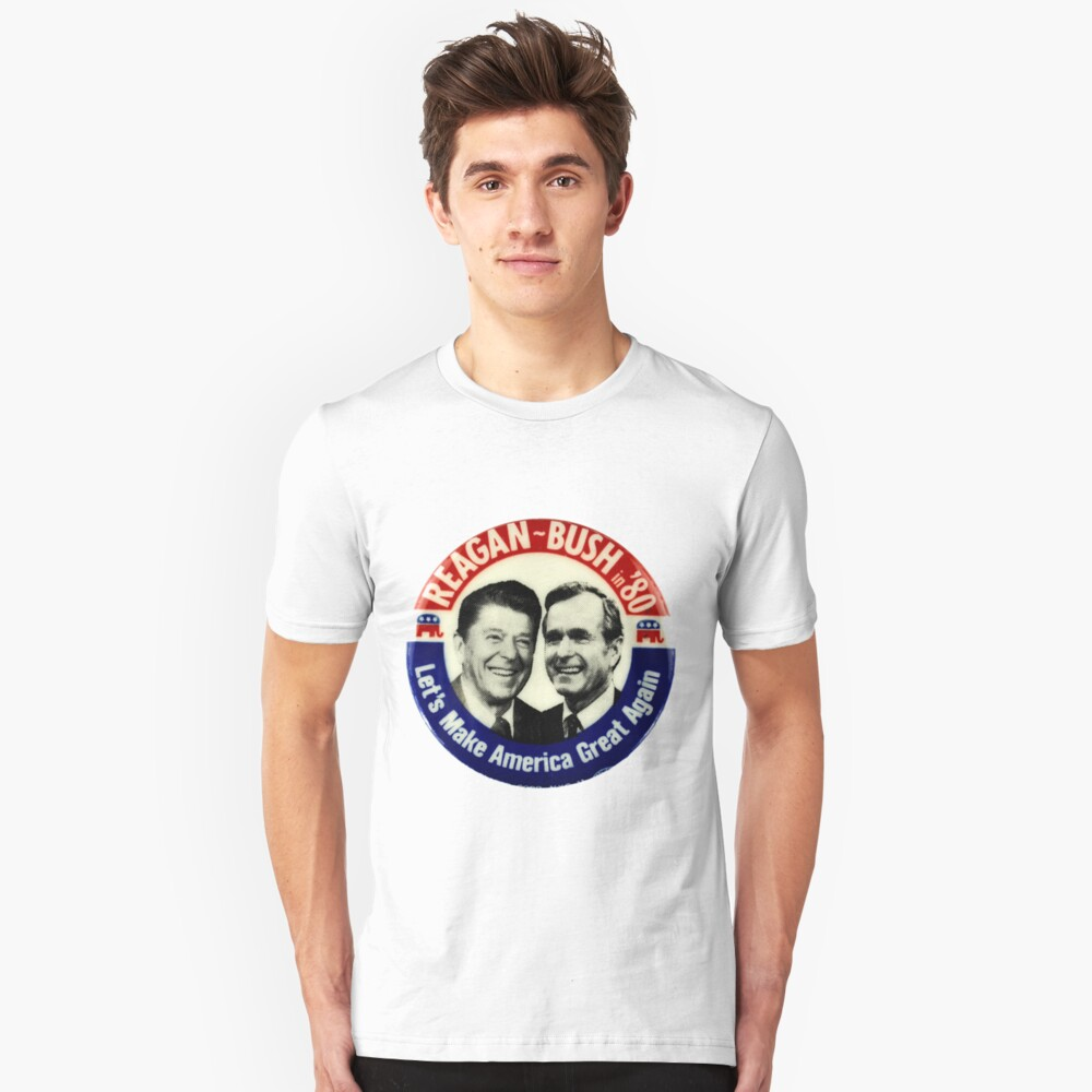 Reagan Bush 84 80 Retro Logo Red White Blue Election Ronald George 1984 1980 Pin Unisex T Shirt By Arcadetoystore