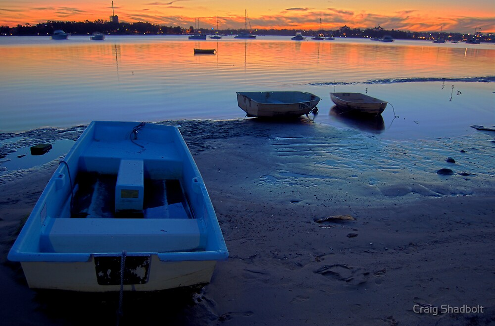Sunset dinghys by Craig Shadbolt