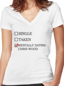 Mentally Dating Chris Wood Women's Fitted V-Neck T-Shirt