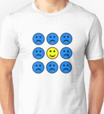 Happy Smiley in a Crowd of Unhappy Faces T-Shirt
