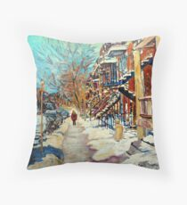 CANADIAN STREET SCENES OF MONTREAL WINTER CAROLE SPANDAU Throw Pillow