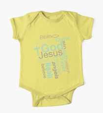 Christian Religious Typography Word Art Jumble One Piece - Short Sleeve