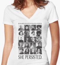 Nevertheless, She Persisted Women's Fitted V-Neck T-Shirt