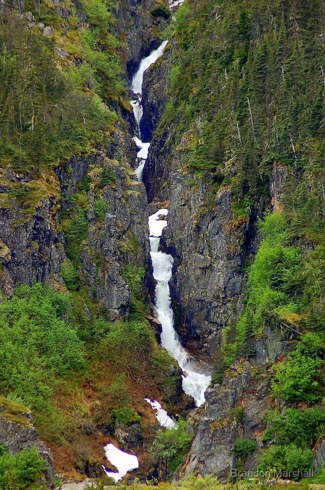 Alaskan Waterfall on the Mountians by Brandon Marshall