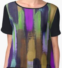 Purple Green Brown Lines Brush Strokes Abstract Chiffon Top