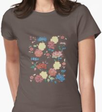 Bingata Panel with Chrysanthemums and Snow Circles Women's Fitted T-Shirt