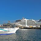 Magnetic Island Barge and Seabourn Encore Cruise Ship by Paul Gilbert