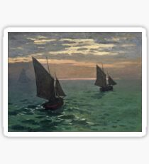 Claude Monet - Fishing Boats At Sea Sticker