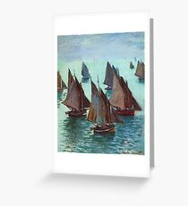 Claude Monet - Fishing Boats Calm Sea Greeting Card