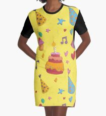 Happy Birthday Seamless Pattern with Cake, Cupcakes and Hats for Children Party Graphic T-Shirt Dress