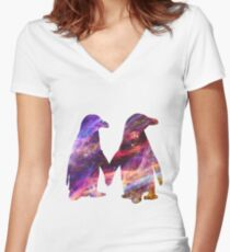 Space - Penguin Couple Women's Fitted V-Neck T-Shirt