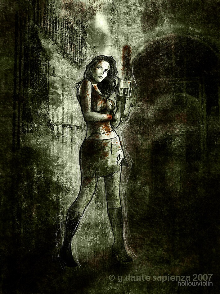 girl with chainsaw by hollowviolin