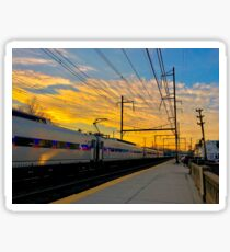 Trains and Sunset Sticker