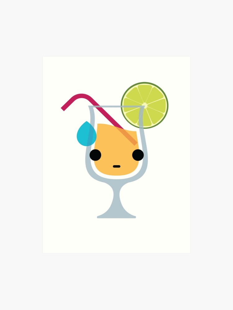 Fruit Juice Emoji Sweat and Speechless | Art Print