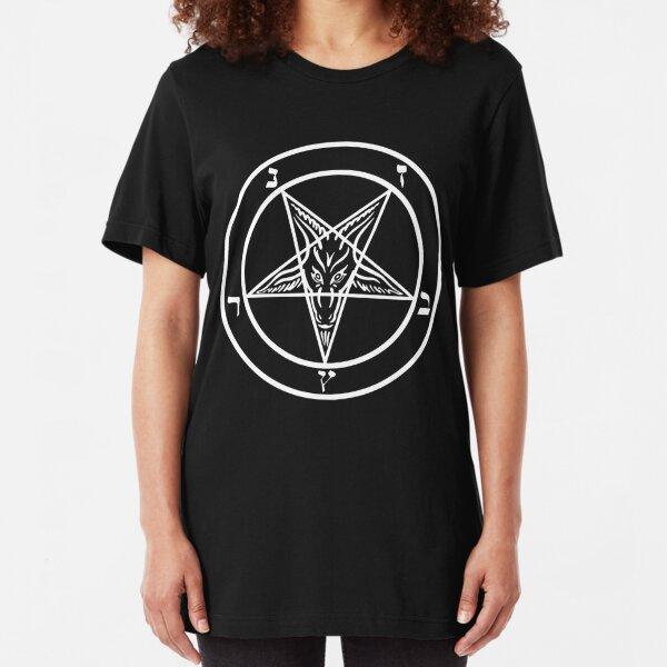 Inverted Pentagram with Sigil of Baphomet Goat Head Slim Fit T-Shirt