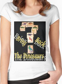Bring Back the Dinosaurs in Black Women's Fitted Scoop T-Shirt