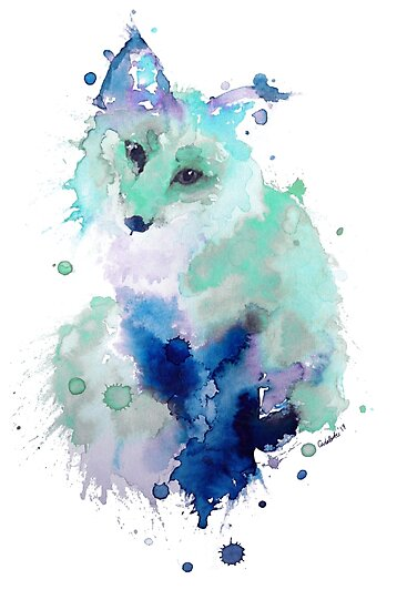 Ice Blue Watercolour Fox by Carla Carter