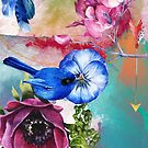 Bluebird in the Flowers by Cameron Lundstedt