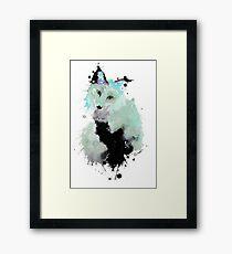 Black Ink Watercolour Fox Framed Print