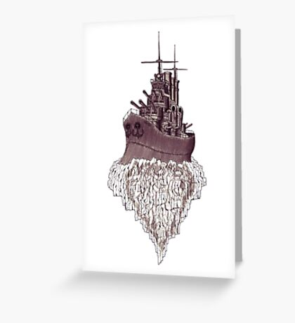Soul of the Battleship surreal black and white pen ink drawing Greeting Card