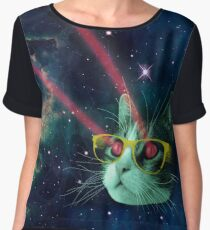 Laser cat with glasses in space Chiffon Top