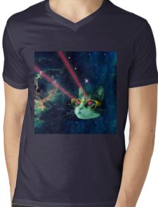 Laser cat with glasses in space Mens V-Neck T-Shirt