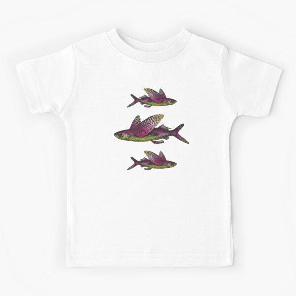 Flying Fish Pattern | Vintage Fish | Nautical Patterns |  Kids T-Shirt