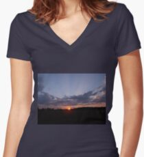 Beautiful Sunset Women's Fitted V-Neck T-Shirt