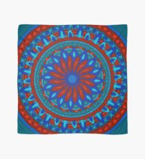 Blue and Red Floral Kaleidoscope Scarf