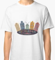 Amsterdam. Old historic buildings and traditional architecture of Netherlands. Windmill and houses with hand drawn lettering. Classic T-Shirt