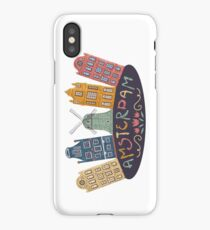 Amsterdam. Old historic buildings and traditional architecture of Netherlands. Windmill and houses with hand drawn lettering. iPhone Case/Skin