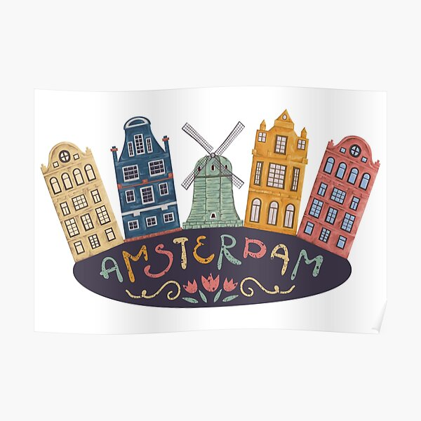 Amsterdam. Old historic buildings and traditional architecture of Netherlands. Windmill and houses with hand drawn lettering. Poster
