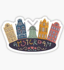 Amsterdam. Old historic buildings and traditional architecture of Netherlands. Windmill and houses with hand drawn lettering. Sticker