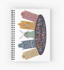 Amsterdam. Old historic buildings and traditional architecture of Netherlands. Windmill and houses with hand drawn lettering. Spiral Notebook